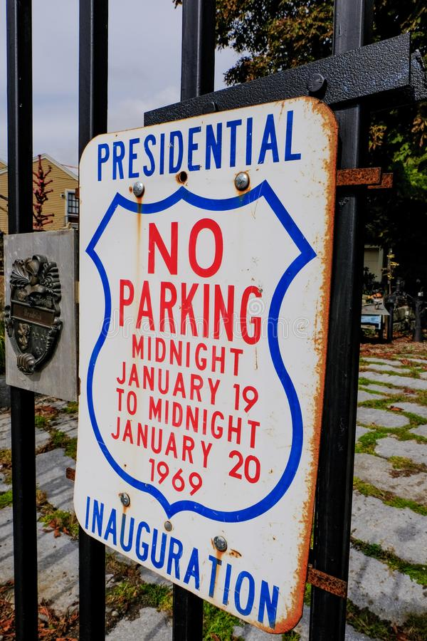 Vintage US Presidential sign seen on a gate in USA. The no parking sign was for the 1969 US presidential elections and is in very good condition considering its stock photos