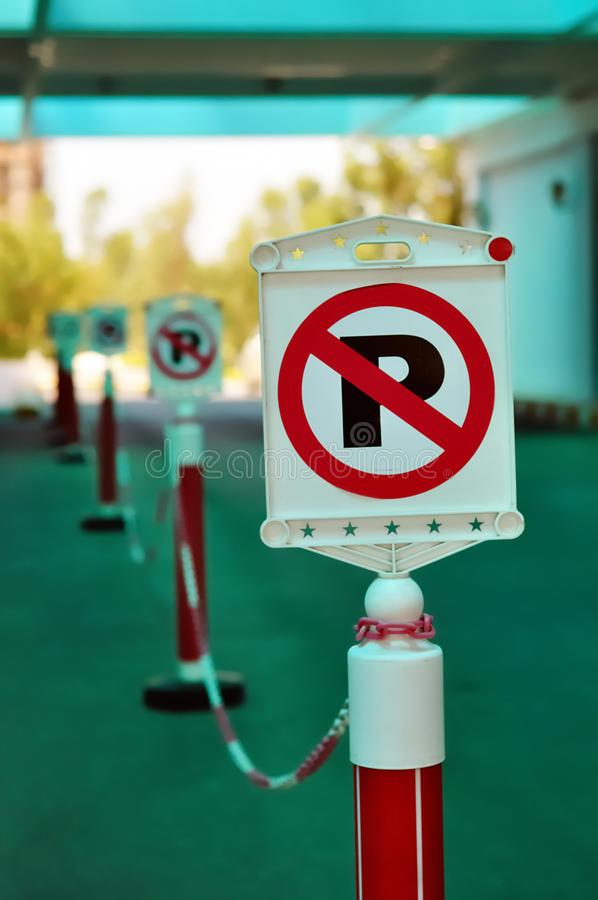 No Parking signs in a row. This photograph represent a row of No Parking signs royalty free stock photos