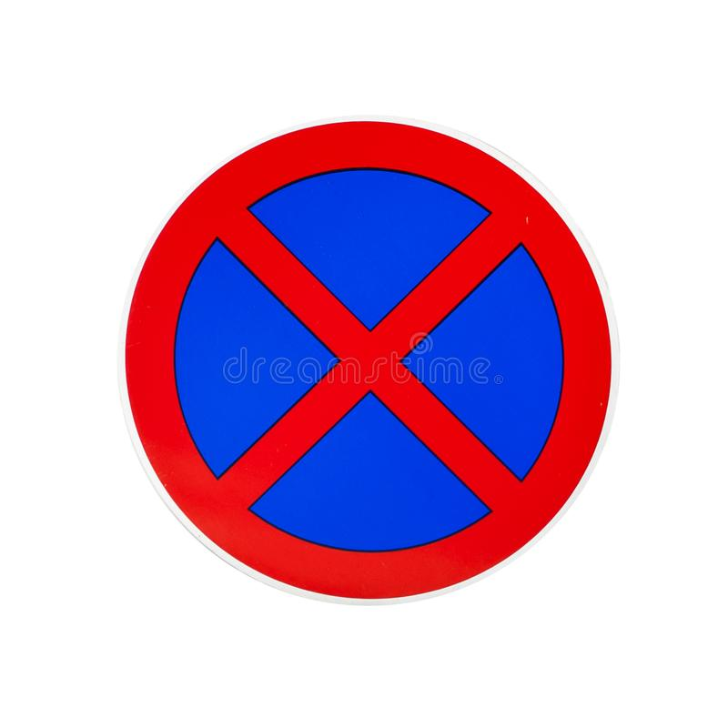No parking and no stopping traffic sign isolated on white. Background stock photo