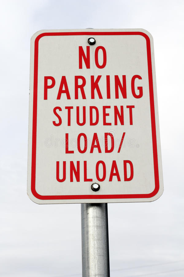 No Parking Student Load/Unload Sign royalty free stock image