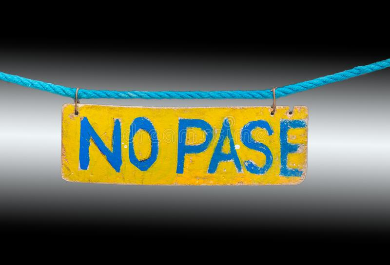 No Pase sign white and black background. No Pase sign horizontal white and black background royalty free stock image