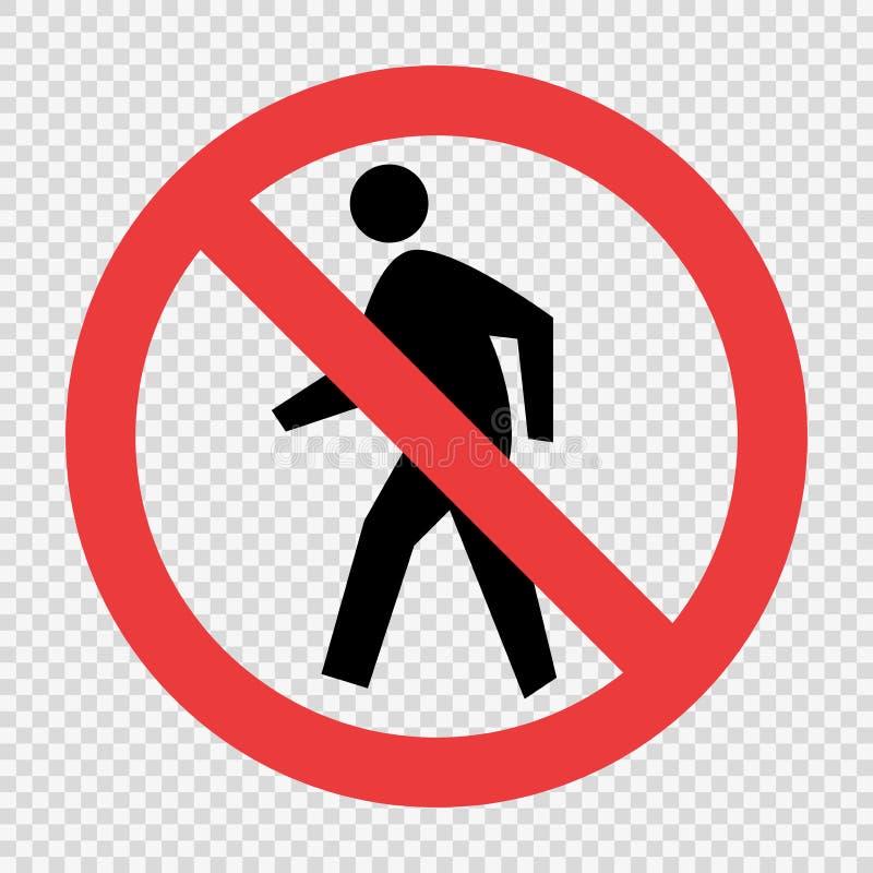 No Pedestrian Traffic Sign on transparent background royalty free illustration