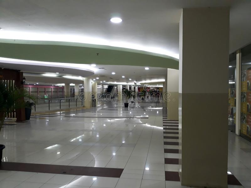No people around when visiting a shopping center. BEKASI, WEST JAVA, INDONESIA. SEPTEMBER 27, 2018 : no people around when visiting a shopping center stock image