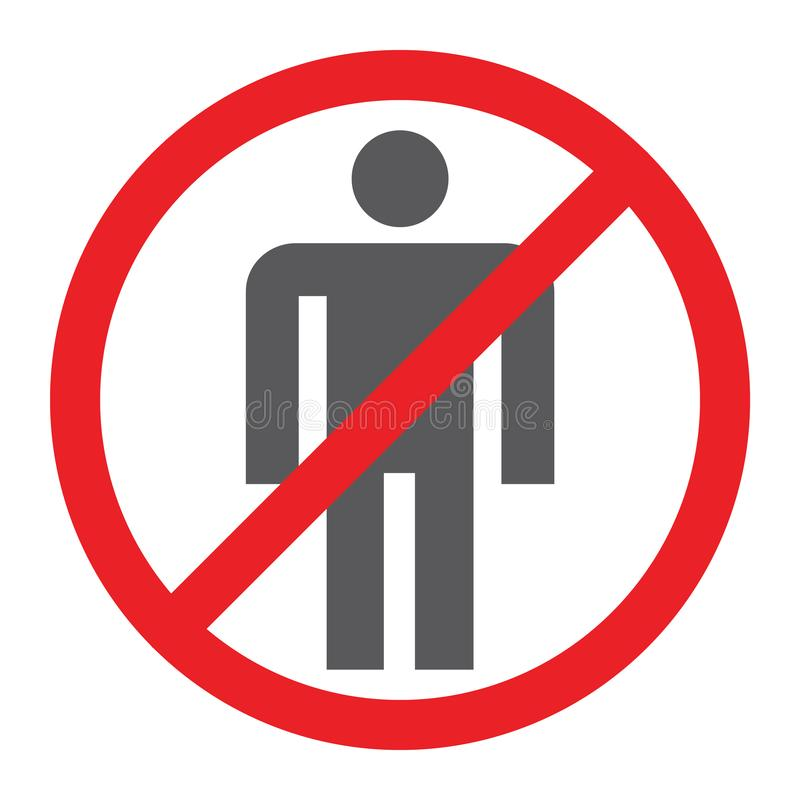 No people glyph icon, prohibited and ban, no human sign, vector graphics, a solid pattern on a white background. royalty free illustration