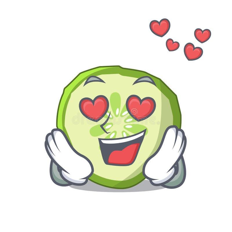 No pepino da fatia da mascote do amor para cozinhar o vegetal ilustração stock