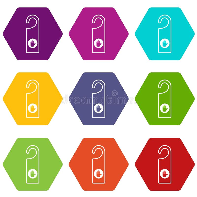 No perturbe el hexahedron determinado del color del icono de la muestra ilustración del vector