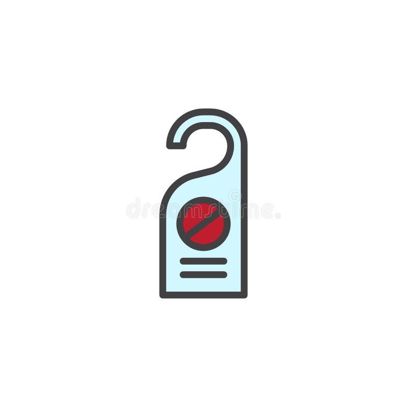 No perturbe el icono llenado etiqueta del esquema de la puerta libre illustration