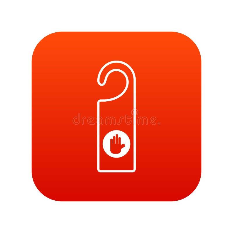 No perturbe el rojo digital del icono de la muestra stock de ilustración