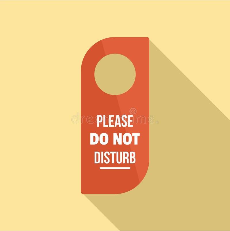 No perturbe por favor el icono de la etiqueta de la suspensión, estilo plano stock de ilustración