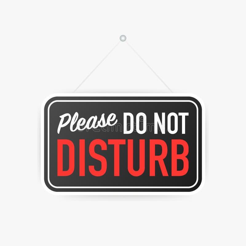 No perturbe por favor la muestra colgante en el fondo blanco Muestra para la puerta Ilustración del vector libre illustration