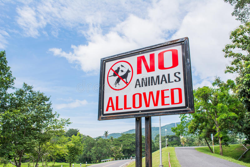 No pets allowed sign in the park.  stock photography