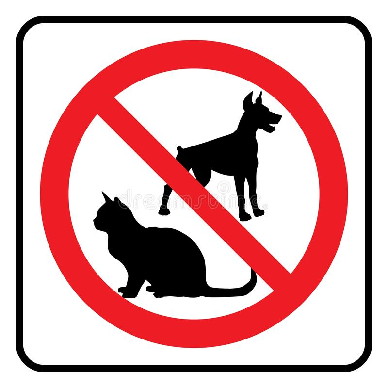 No pets symbol. No Dogs and No cats Icon.Dogs not allowed Icon,Cats not allowed icon.Prohibition Sign royalty free illustration