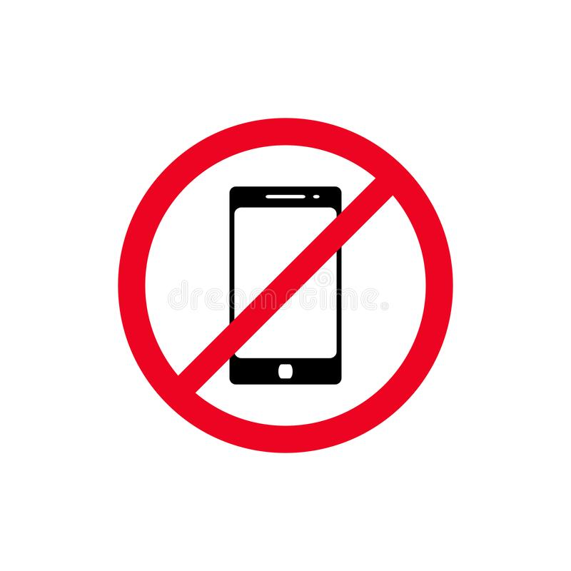 No phone sign vector flat icon. No talking and calling icon. Red cell prohibition illustration.  vector illustration