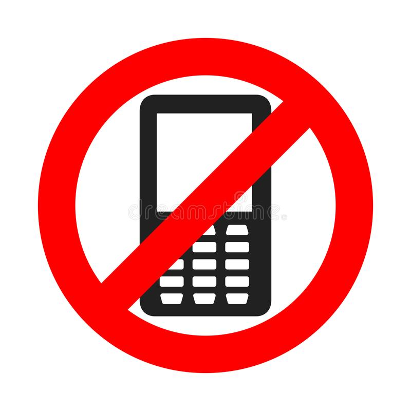 NO phone sign. Vector illustration. NO cell phone. Do not use your phone stock illustration
