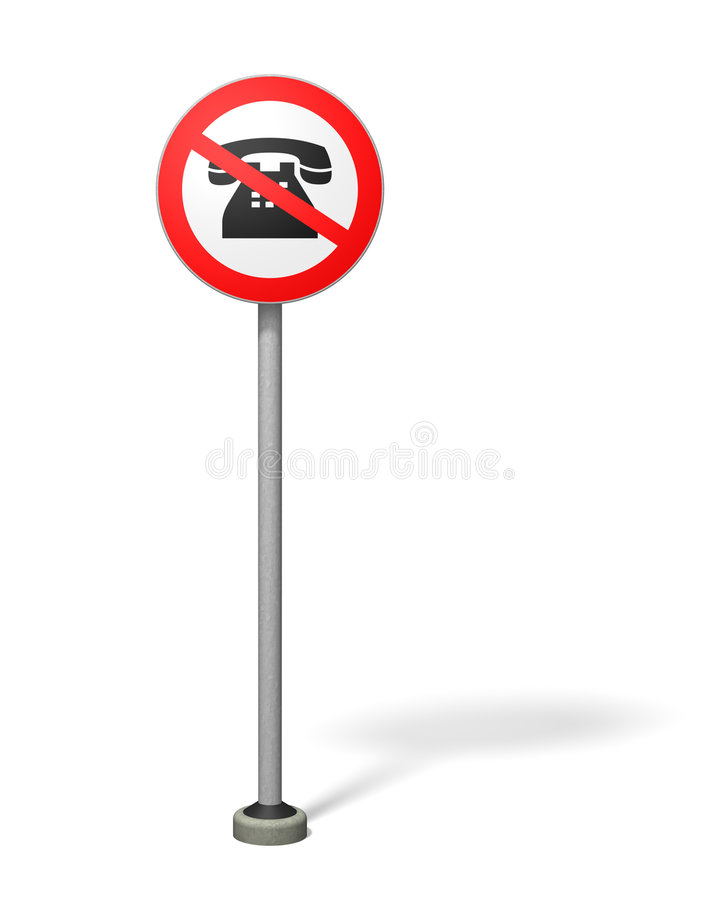 No phoning. Quirky Traffic Sign vector illustration