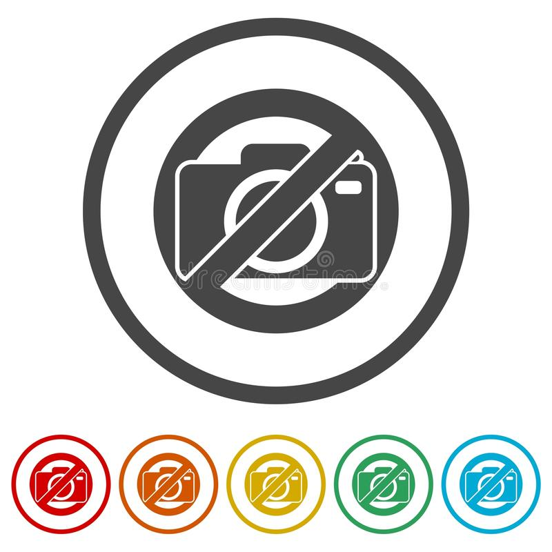 No photo camera sign, No cameras allowed, 6 Colors Included royalty free illustration