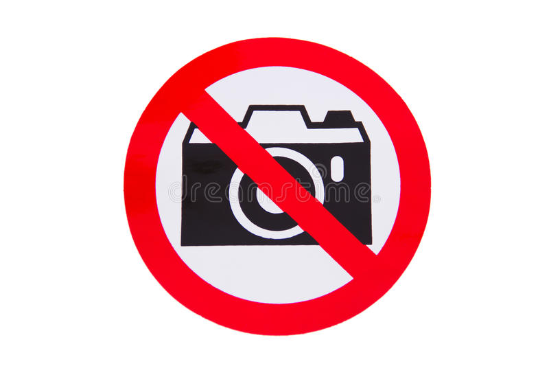 No photography allowed. On white background stock image