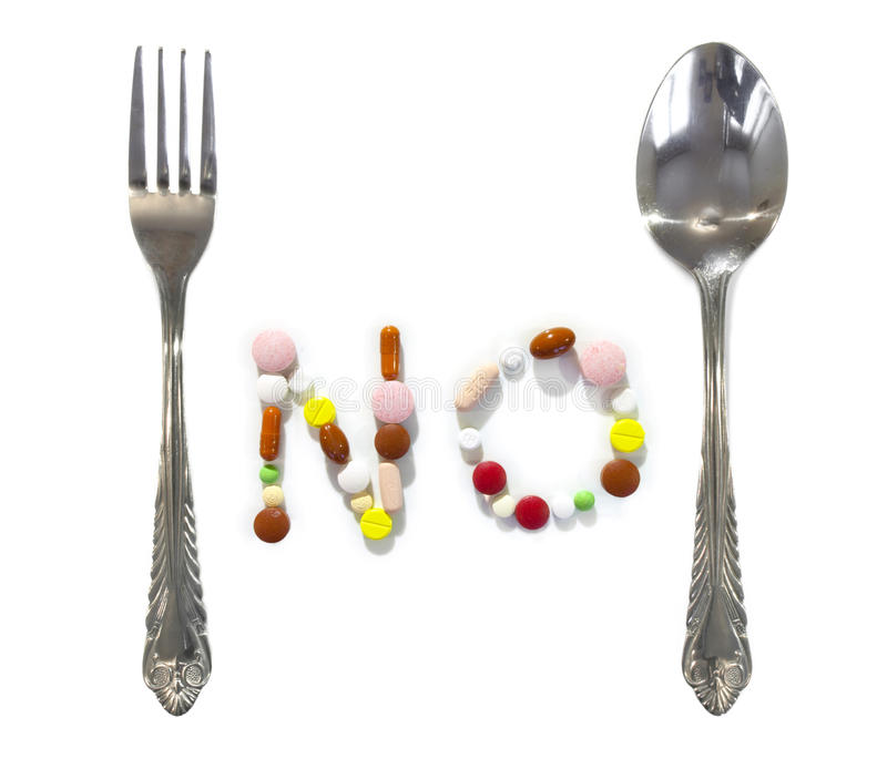 Download No Pills Or Drugs Between Fork And Spoon Stock Image - Image: 33691759