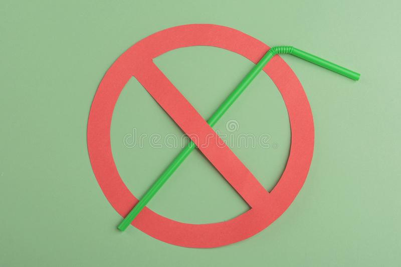 No plastic. Green plastic straw. royalty free stock image