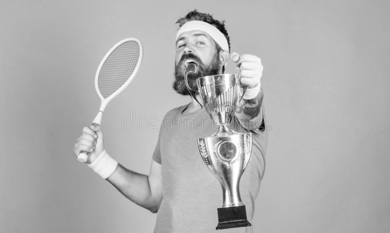 No player can step on court against me and feel confident. Man bearded hipster wear sport outfit. Tennis player win stock photo