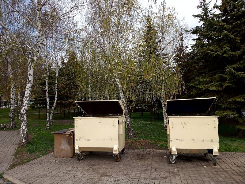 No polution, garbage bins near the park. Polution garbage bins near park stock image
