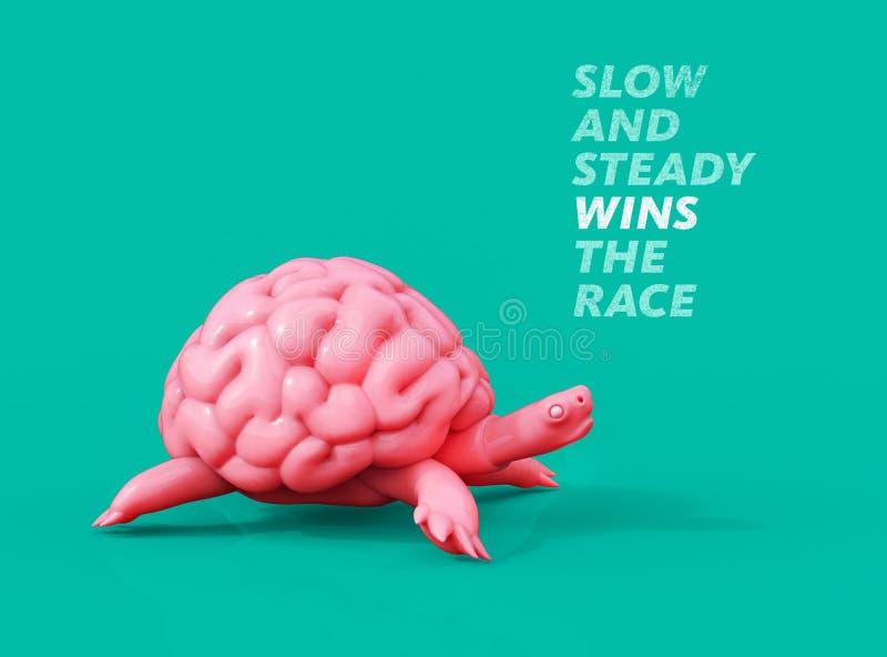 No por mucho madrugar amanece más temprano Ejemplo del cerebro 3D de la tortuga stock de ilustración