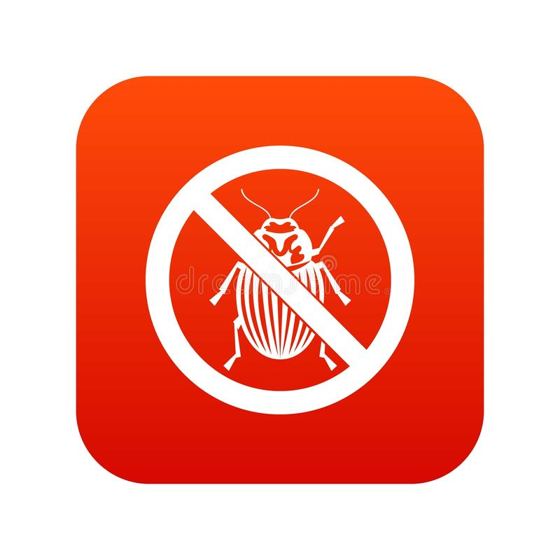 No potato beetle sign icon digital red stock illustration