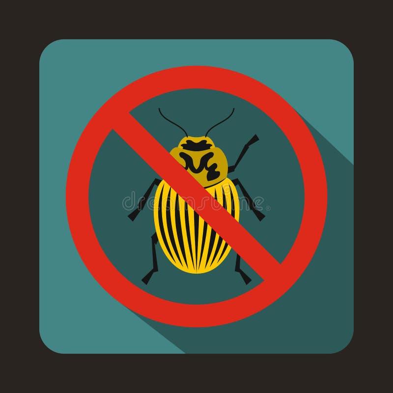 No potato beetle sign icon, flat style stock illustration