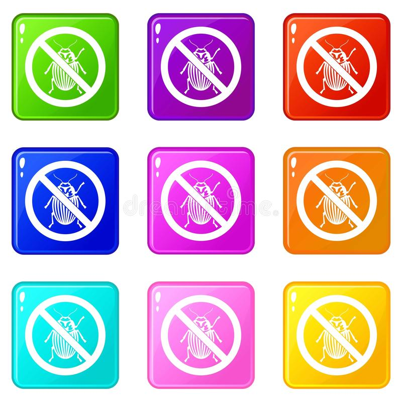 No potato beetle sign icons 9 set vector illustration