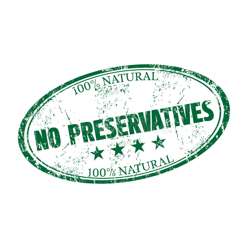 No preservatives rubber stamp stock image