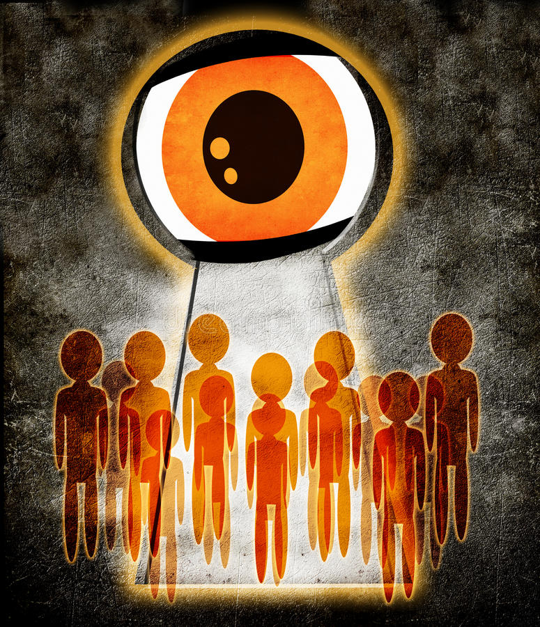 No privacy. People spied on through the keyhole stock illustration