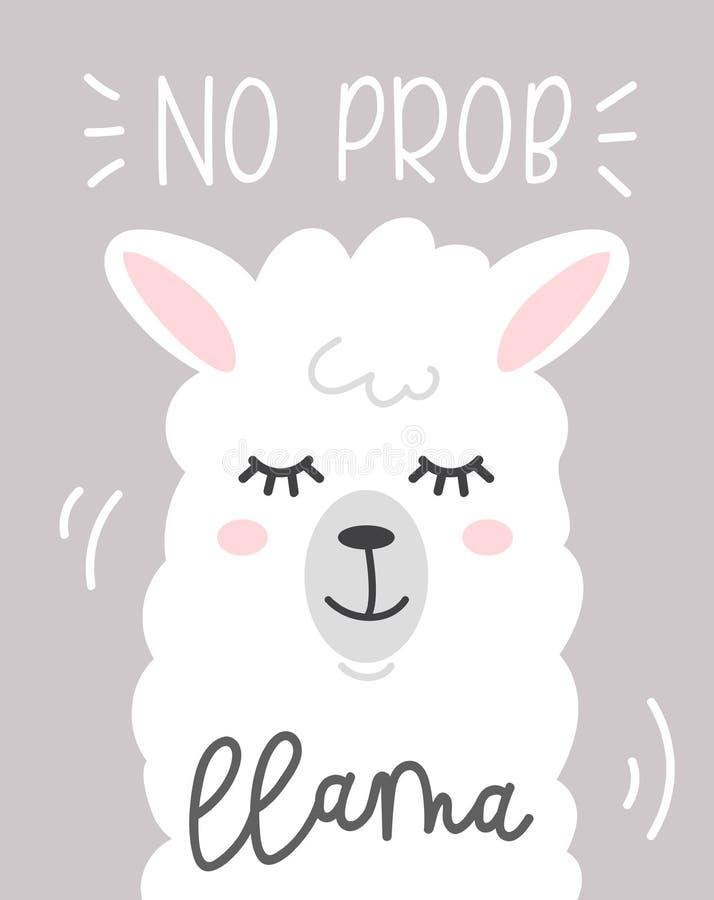 no prob llama cute card with cartoon llama on grey background. stock