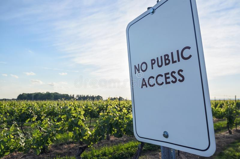 No Public Access sign at the winery royalty free stock photography