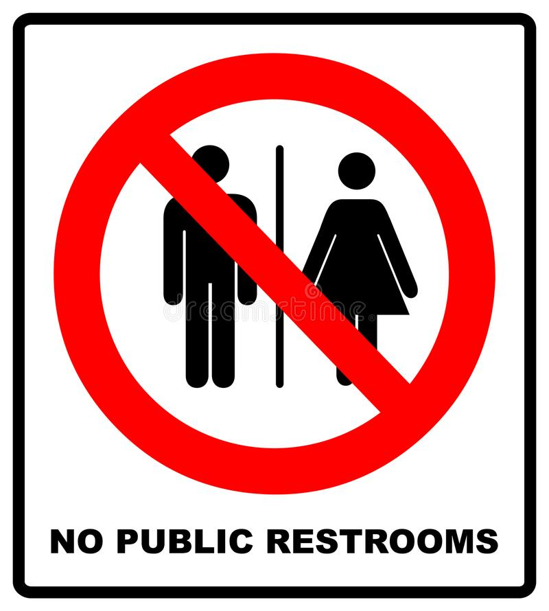 No public restrooms symbol. Do not pooping and peeing people sign. No WC. Warning red banner for outdoors and forests with male, f vector illustration