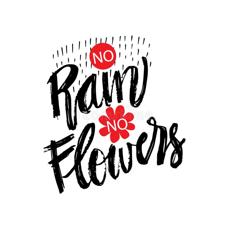 No rain no flowers hand drawn lettering calligraphy vector illustration