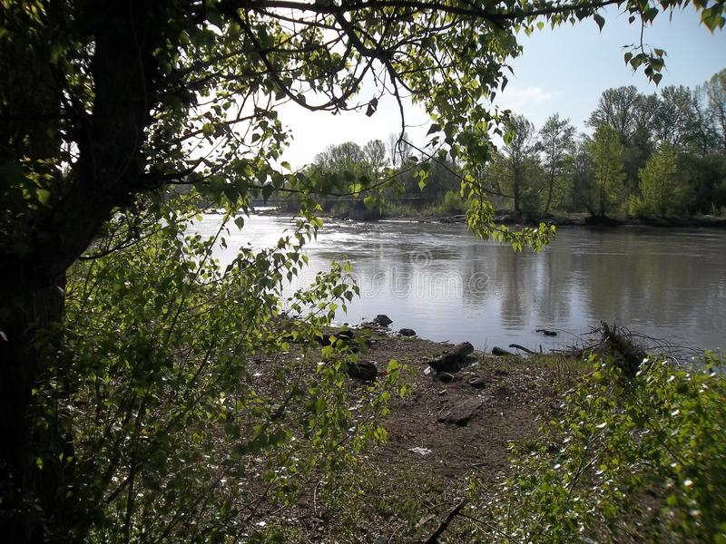 Is no rain the river Belaya peace and quiet stock photography