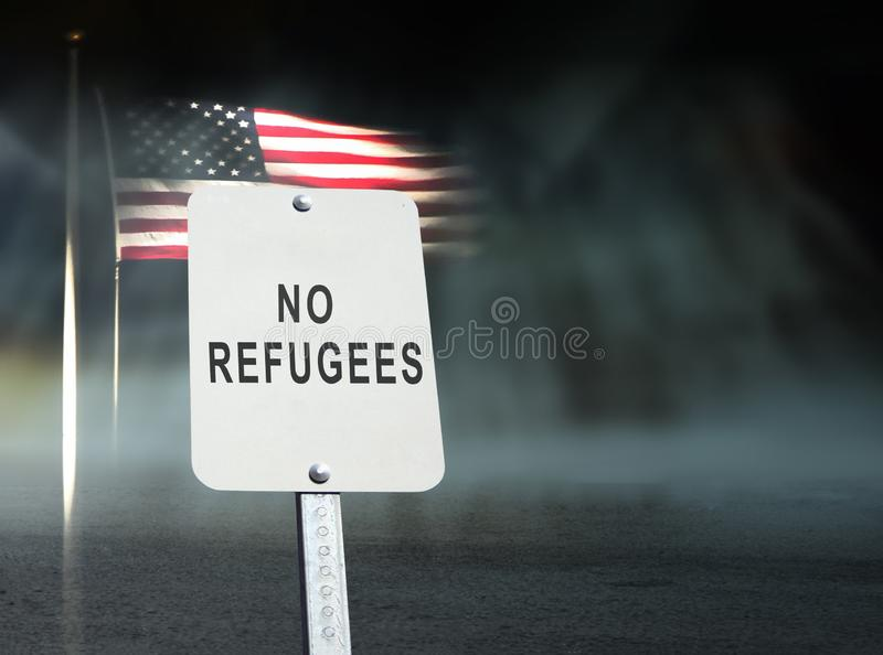 No refugees concept. With american flag stock image