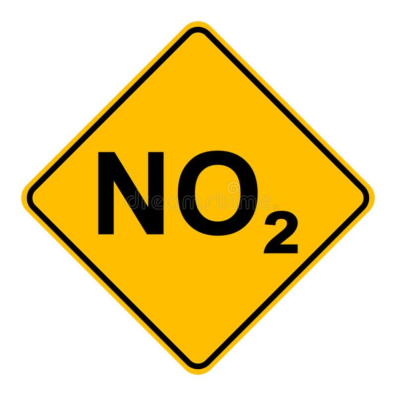 NO2  and road sign. As vector illustration royalty free illustration