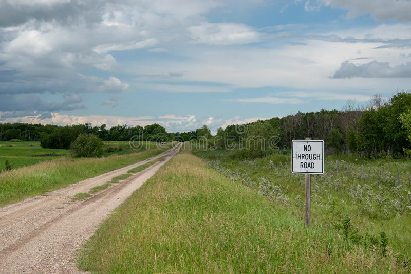 No Through Road Sign, Country Road, Saskatchewan, Canada. No Through Road Sign, Country Road, Saskatchewan, Canada stock photography