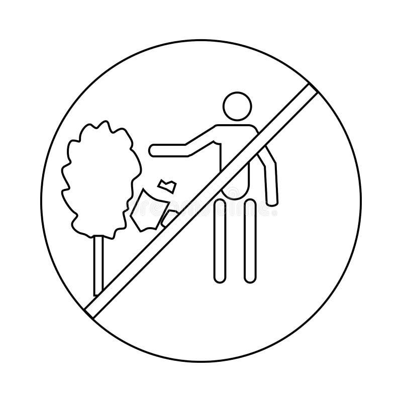 No rzucać śmieciarskiej ikony, konturu styl ilustracja wektor