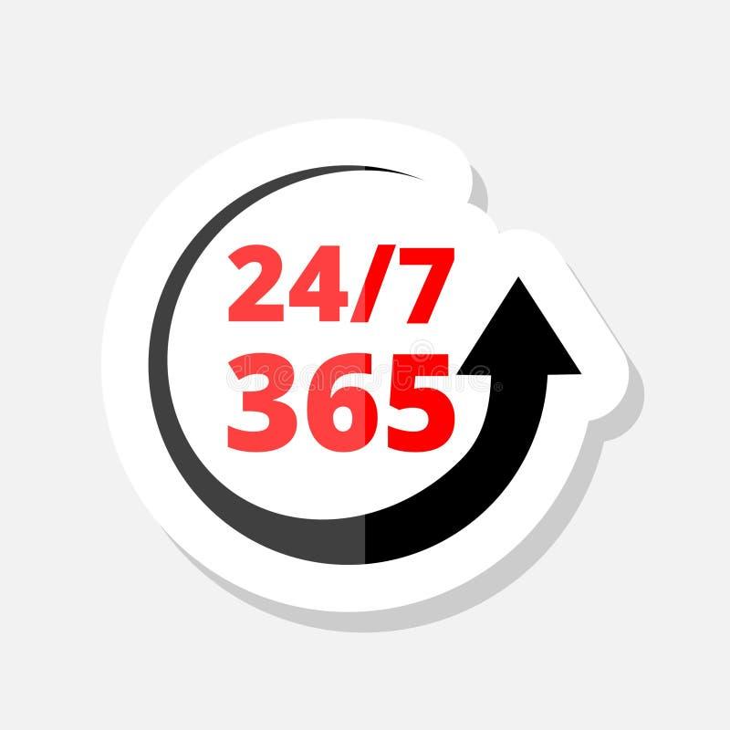 24 no símbolo 7 cronometrando Sinal simples do tempo 365 ilustração do vetor