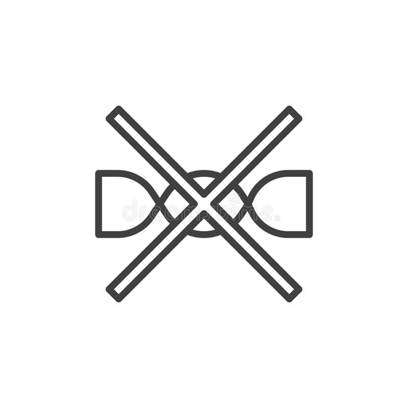 No saque para lavar la línea icono de la muestra de la máquina ilustración del vector