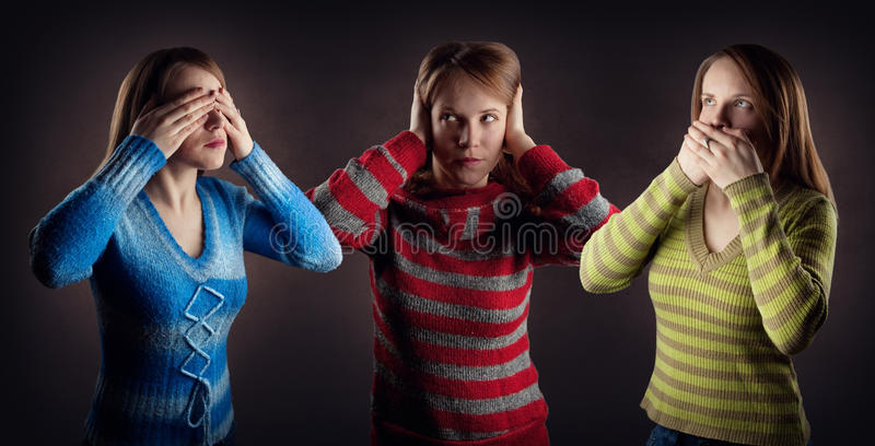 No see, no hear and no talk stock image