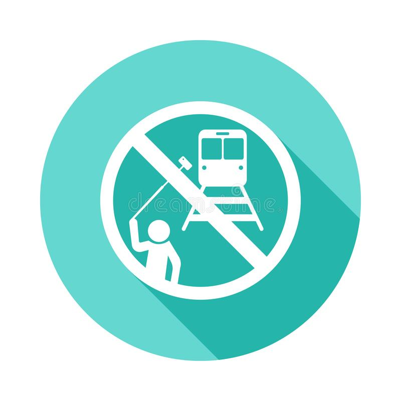 no selfie icon in Flat long shadow style stock illustration
