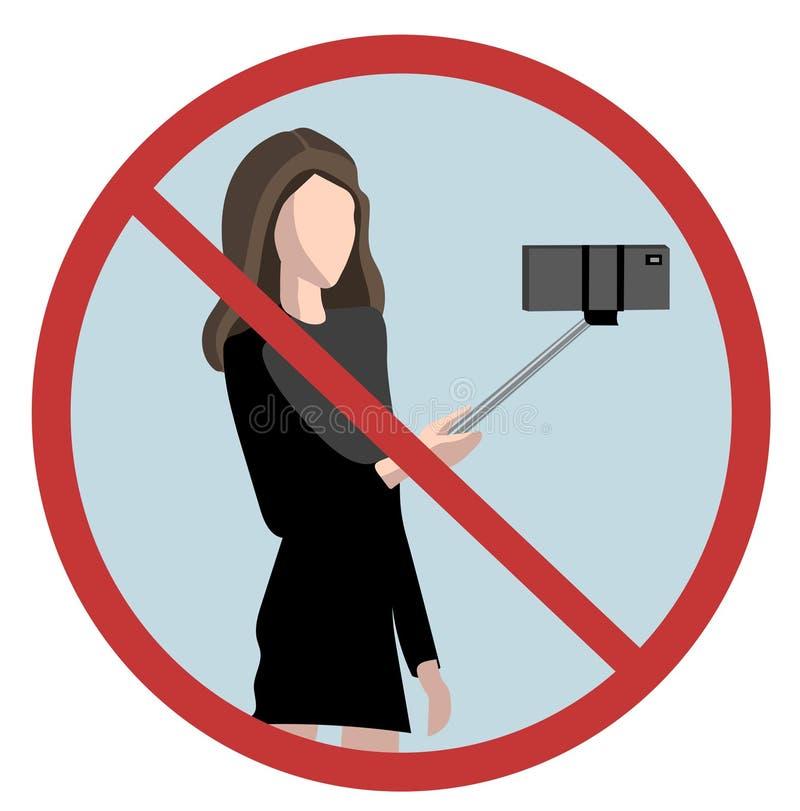 No selfie sticks stock illustration