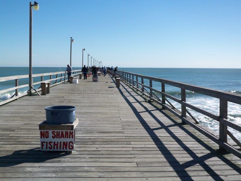 No Shark Fishing sign on Wilmington North Carolina Pier royalty free stock photo