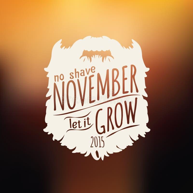 No Shave November flyer. Retro Vintage insignia on blurry background for no shave November support stock illustration