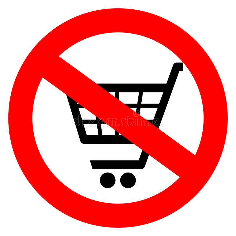 No shopping cart sign royalty free illustration