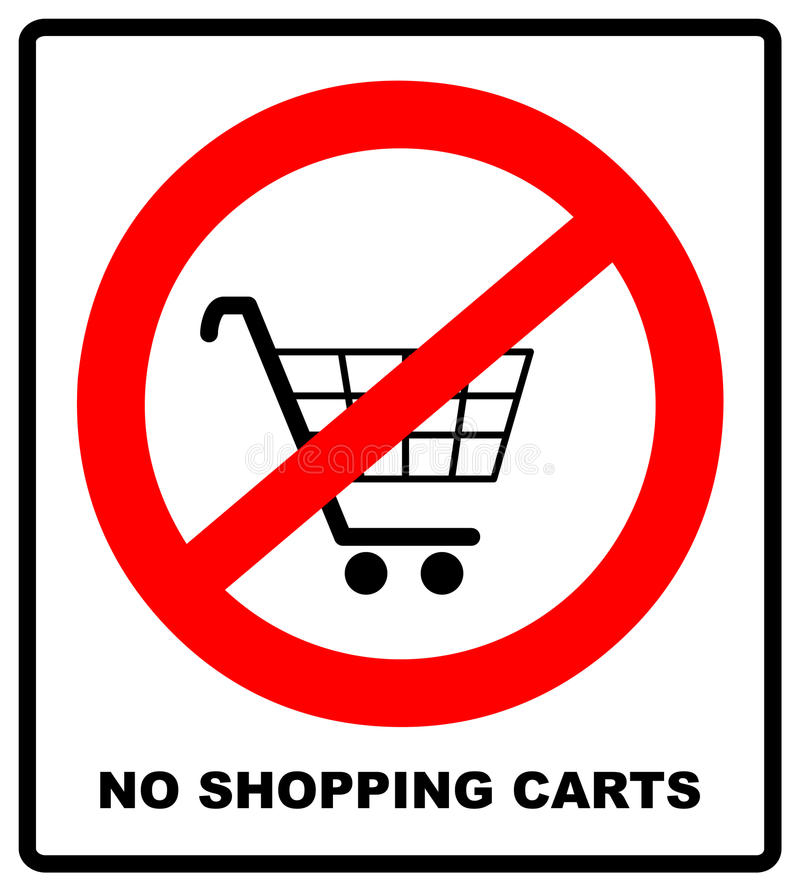 No shopping cart sign, vector illustration. Prohibition symbol in red circle isolated on white. Warning banner for stock illustration