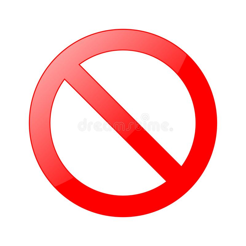No sign. Simple vector illustration no sign or no admittance, no forbidden icon isolated on white background. traffic sign royalty free illustration